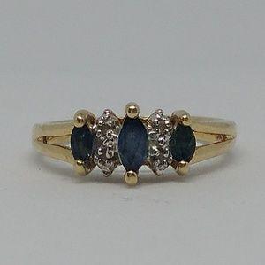 10k Gold Sapphire Diamond Ring